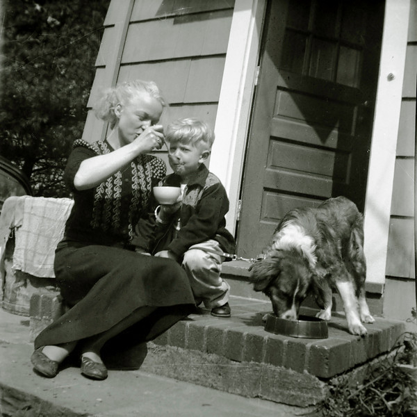 Kersti Vickers with her son Arthur, probably in White Plains, 1950s.