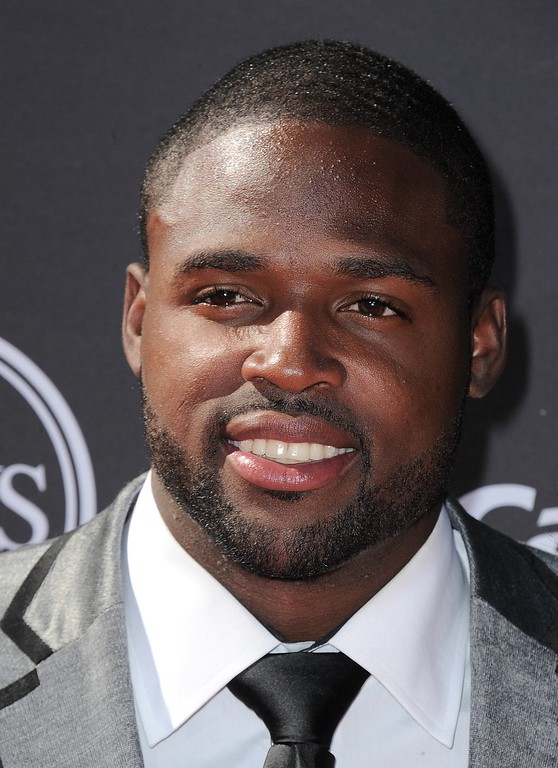 . Baltimore Ravens\' Torrey Smith arrives at the ESPY Awards on Wednesday, July 17, 2013, at Nokia Theater in Los Angeles. (Photo by Jordan Strauss/Invision/AP)