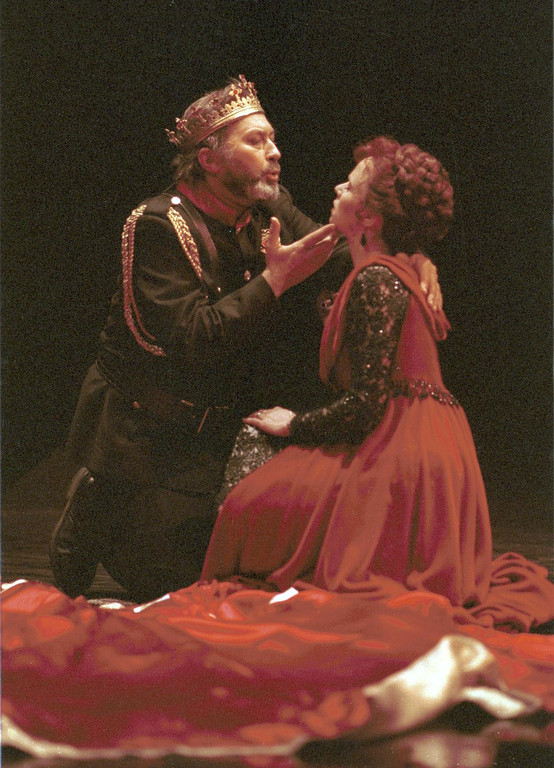 ". Scene from Shakespeare Santa Cruz production of ""Macbeth.\"" Pictured are Paul Whitworth, as \""Macbeth,\"" and \""Lady Macbeth,\"" as portrayed by Mhari Sandoval. The play was directed by Michael D. Edwards. (Sentinel file)"