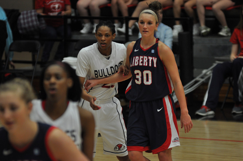 Jessica Heilig works to get open for a pass against Liberty University on February 23, 2013.