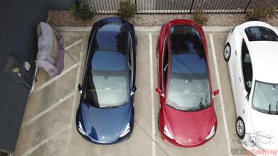 Tesla Model 3 - Red Multi-Coat and Deep Blue Metallic