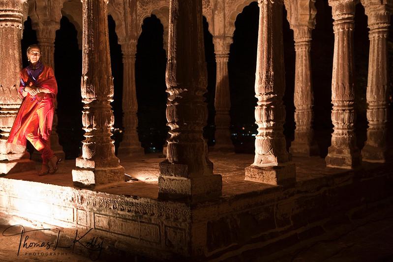 Stone column pavilion at The Mehrangarh fort. Jodhpur, Rajasthan, India.