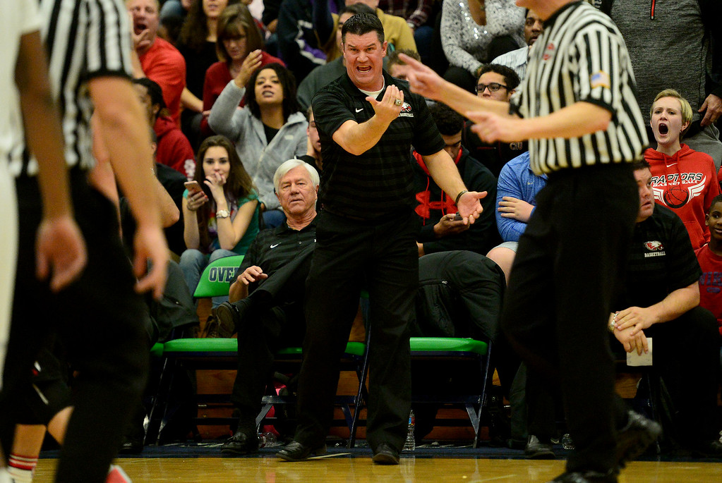 . head coach John Olander of EagleCrest  reacts to a foul called on his team during the first half of play. The Overland Trailblazers hosted the Eaglecrest Raptors on Friday, January 8, 2016. (Photo by AAron Ontiveroz/The Denver Post)