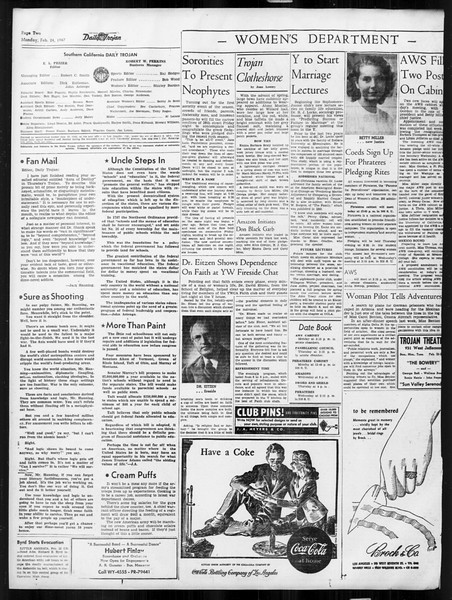 Daily Trojan, Vol. 38, No. 81, February 24, 1947