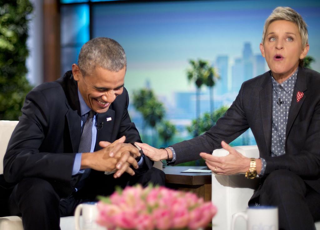 . President Barack Obama laughs with Ellen DeGeneres during a commercial break while taping a show segment of the Ellen DeGeneres Show in Burbank, Calif., Thursday, Feb. 11, 2016. (AP Photo/Pablo Martinez Monsivais)