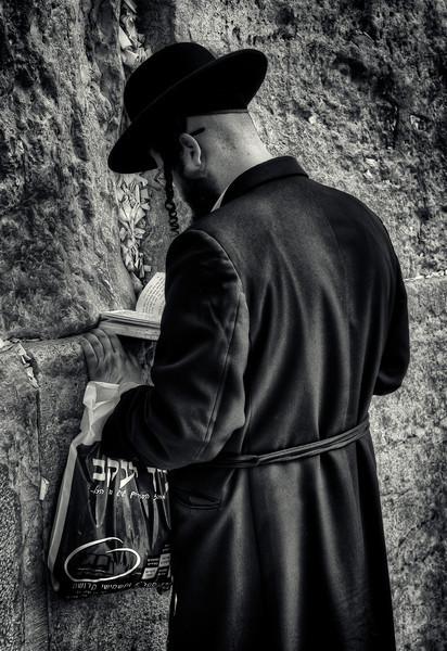 Man praying at the wailing wall.  Jerusalem, Israel, 2012.