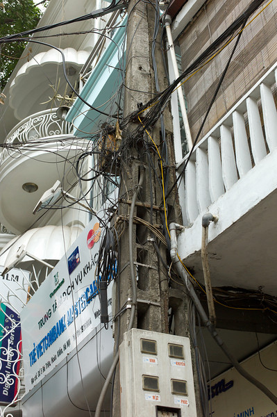 A relatively neat electrical support pole in Hanoi, Vietnam.