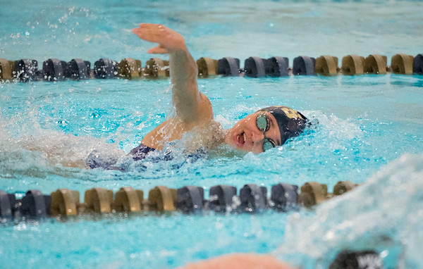10/02/19 Wesley Bunnell | StaffrrBulkeley/HMTCA girls swimming at Newington on Wednesday afternoon. Sarah Nadratowski in the 100 yard freestyle.