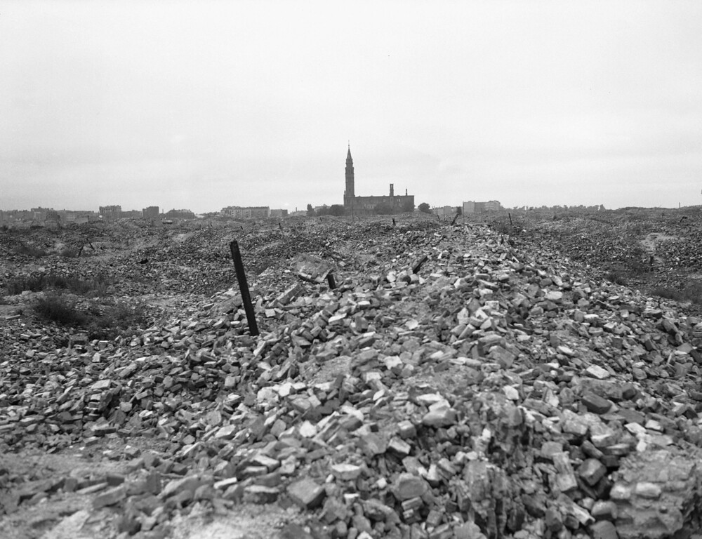 . This is a view of the remains of the Warsaw ghetto, which the German SS dynamited to the ground in 1945 after slaughtering some 60,000 Jews in merciless fighting. (AP Photo)