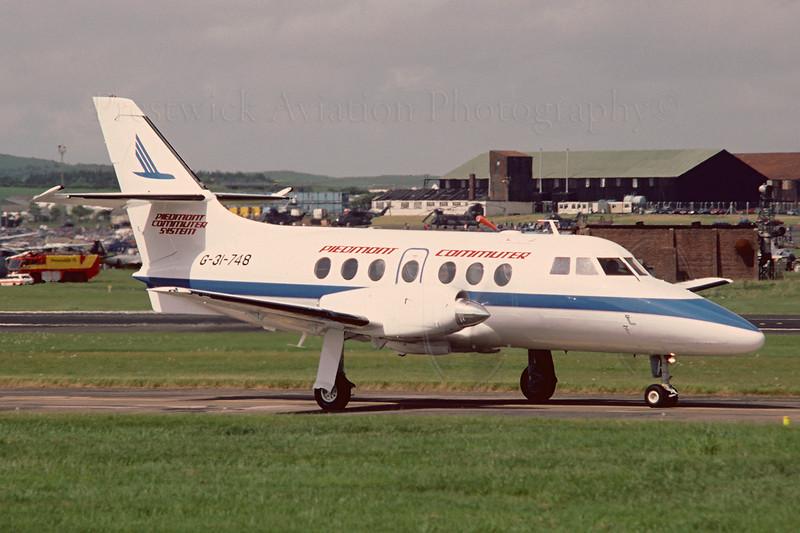 G-31-748. Bae Jetstram 31. Peidmont Commuter. Prestwick. June 1987.