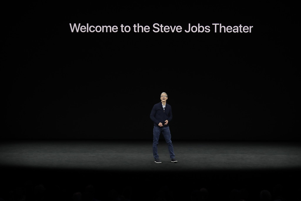 . Apple CEO Tim Cook kicks off the event for a new product announcement at the Steve Jobs Theater on the new Apple campus on Tuesday, Sept. 12, 2017, in Cupertino, Calif. (AP Photo/Marcio Jose Sanchez)