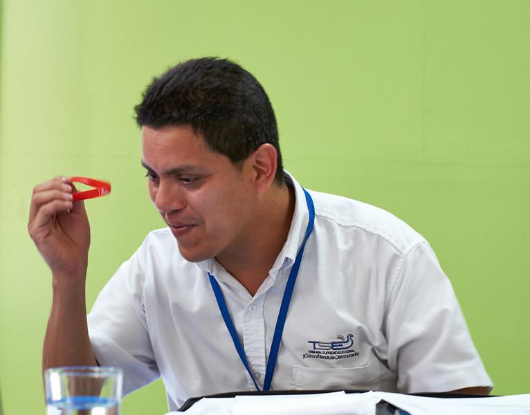 Nelson Carcamo of the TSE (supreme electoral tribunal) explains voting procedures to the delegates.