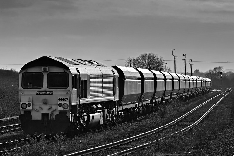 Freightliner Class 66607 plus empties in Barnetby reception sidings
