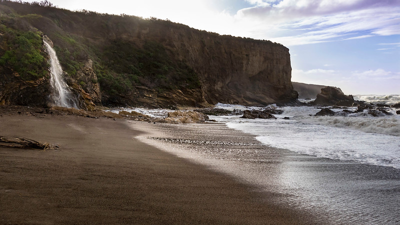 storm runoff on the beach