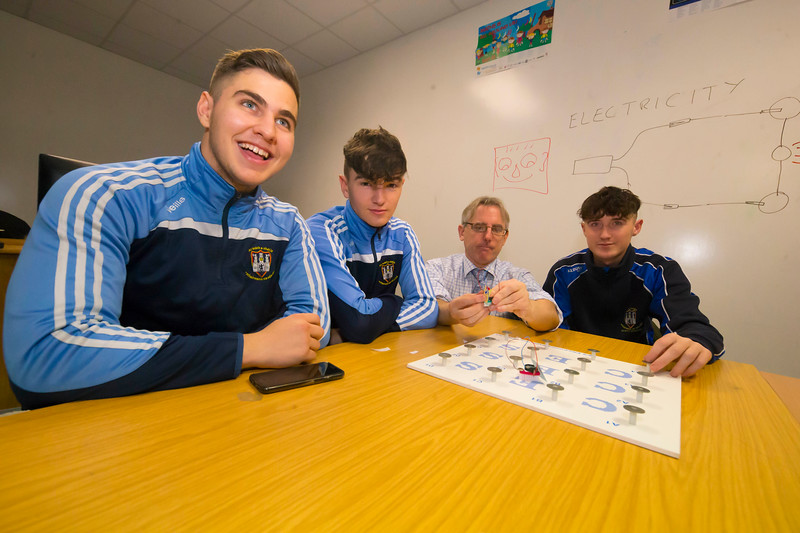 22/11/2017. Waterford Institute of Technology's (WIT) 'College Awareness Day. Pictured are Andrei Forro, Jordan Fanning  and Sean Baird from Kilkenny city vocational school with Eoin Gill Calmast WIT. Picture: Patrick Browne  Hundreds of secondary school students from across the South East celebrated College Awareness Week by attending Waterford Institute of Technology's (WIT) 'College Awareness Day' on Wednesday 22 November 2017. The events gave secondary school students a taste of college life and helped students of all ages to become 'college ready' by raising awareness of the benefits of going to college. There was an  hourly talk/workshop on how to become college ready (including presentations on college life), an expo area, and a chance to explore the campus. Students attended workshops on sport, electronics, sport and creative as well as presentations on college life at WIT, student supports, new courses for 2018, routes of entry and clubs and societies. They also got an overview of WIT's new common and broad entry courses for 2018.     Elaine Larkin Communications & PR Executive, Waterford Institute of Technology   Phone: +353 51 845577  Mobile: 087-7105148