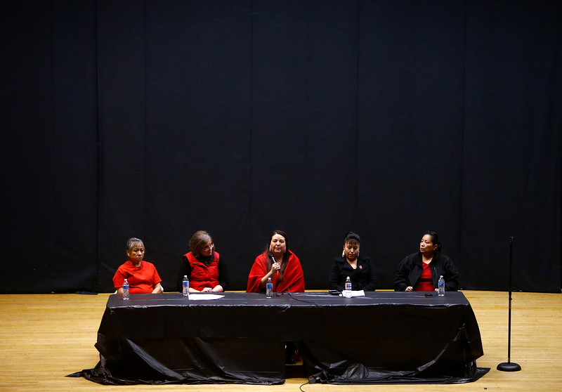 "Five panelists answer questions on the issue of murdered and missing indigenous women during a panel discussion after a screening of ""Silent No More"" hosted by Billings Urban Indian Health and Wellness Center at the Lincoln Center in Billings, Mont. on Monday, Feb. 4, 2019."