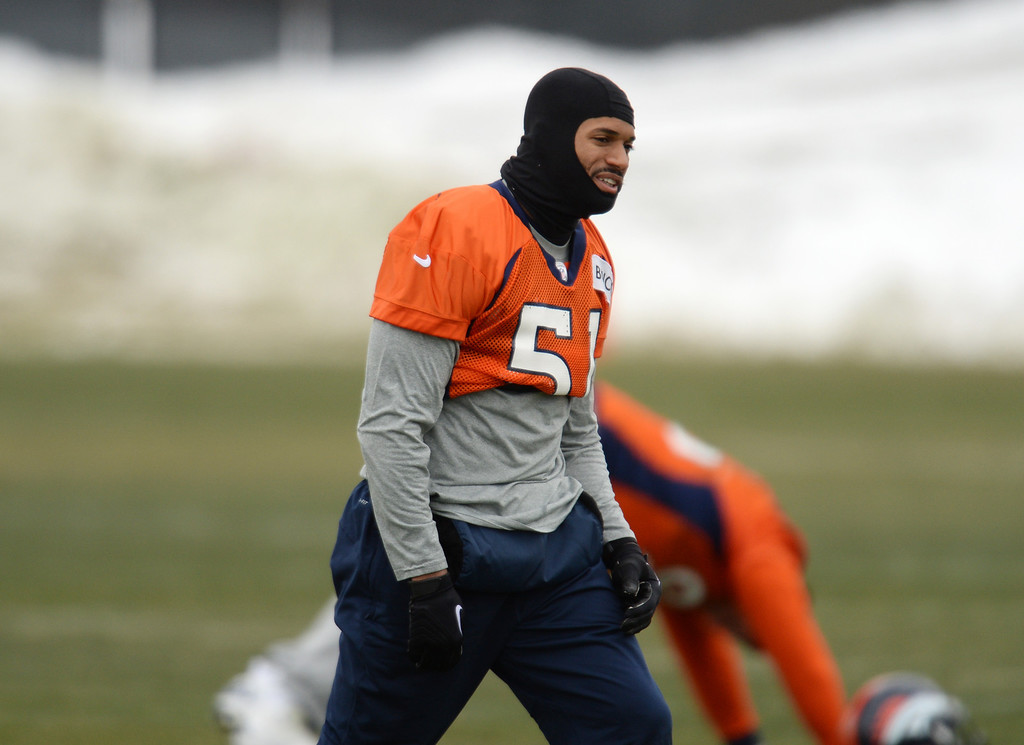 . CENTENNIAL, CO. NOVEMBER 22 : Paris Lenon of Denver Broncos (51) is warming up for the team practice at the field in Denver Broncos Headquarters at Dove Valley. Centennial, Colorado. November 22, 2013. (Photo by Hyoung Chang/The Denver Post)