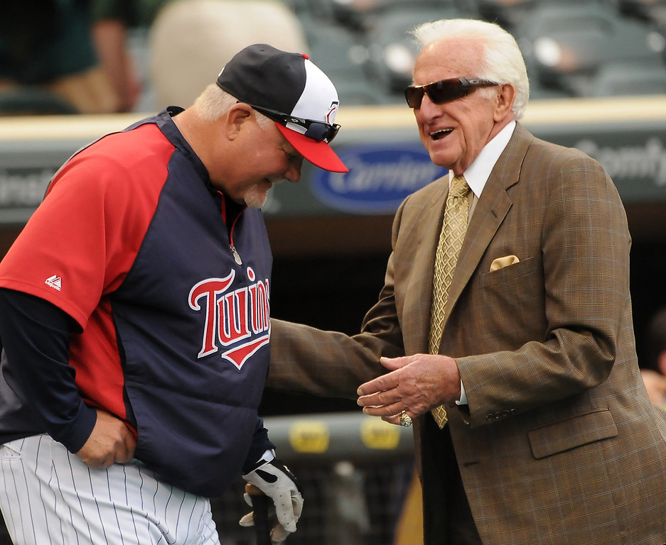 . Legendary Brewers announcer Bob Uecker yucks it up with Twins manager Ron Gardenhire before the start of Thursday Major League Baseball game at Target Field in Minneapolis, May 30, 2013. (Pioneer Press: John Autey)