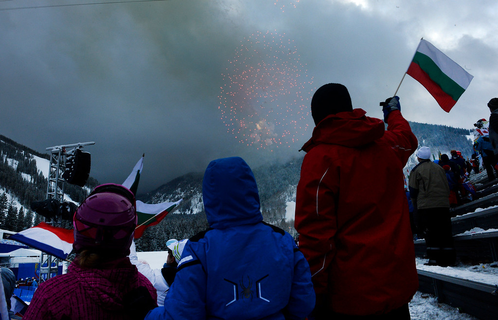 . BEAVER CREEK, CO - FEBRUARY 15: Spectators enjoy the fireworks during the closing ceremonies for the FIS Alpine World Ski Championships in Beaver Creek, CO. took place at the base of the races at Redtail Stadium February 15, 2015. (Photo By Helen H. Richardson/The Denver Post)