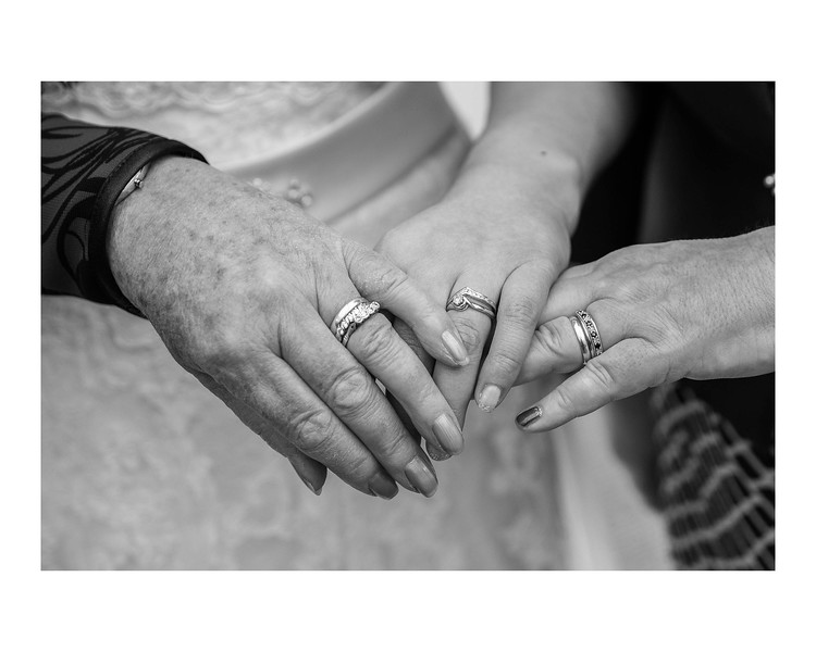 Wedding Photography of Laura & Graham, Stirling Court Hotel, Stiling Universaty, Stirling, Scotland Photograph is of the Bride, Bride's Mother & Grandmother showing three generations of wedding rings in the family