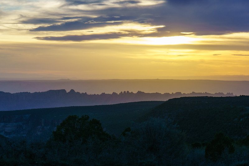 Sunset over Canyonlands National Park from the Lasal mountains near Moab, Utah.