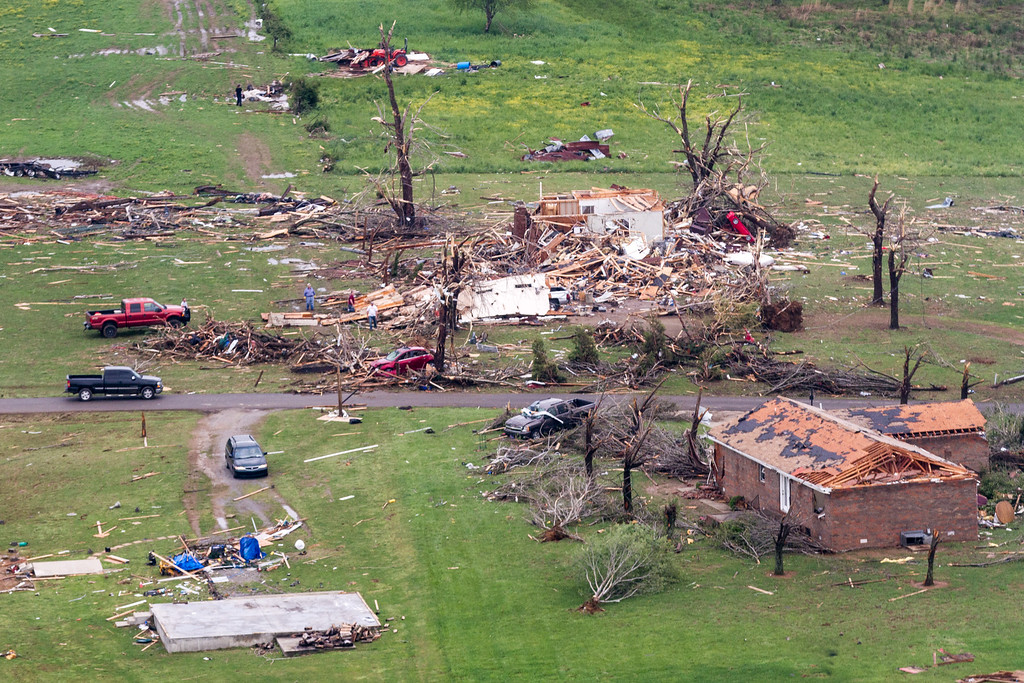 . This aerial photo show homes damaged by a tornado near Fayetteville, Tenn.  Gov. Bill Haslam visited the area near the Alabama line that suffered heavy damage and two fatalities during Monday\'s storms. (AP Photo/Erik Schelzig)