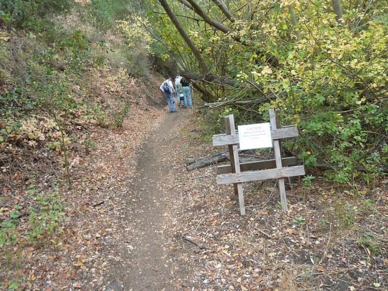 The sign says that the trail is very narrow ahead...
