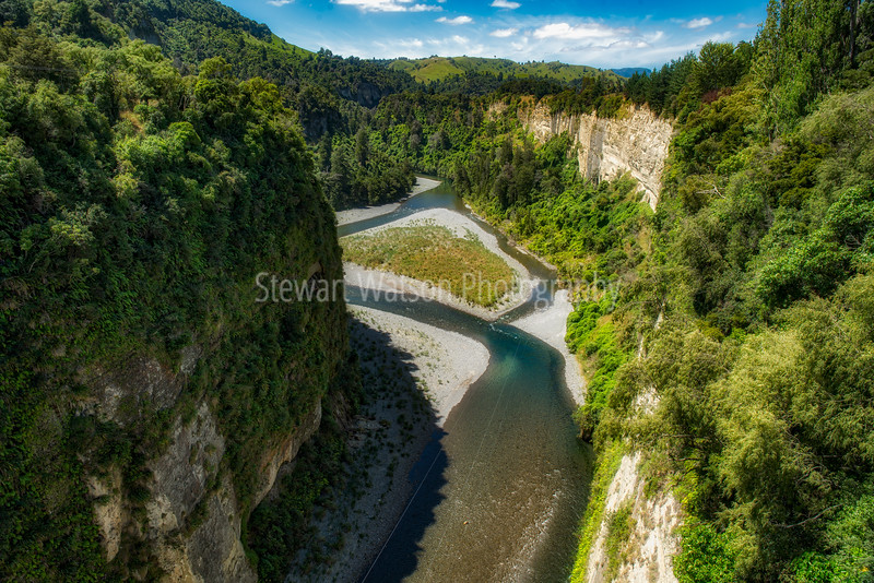 The vibrant turquoise water in the river flowing through the huge tree lined gorge