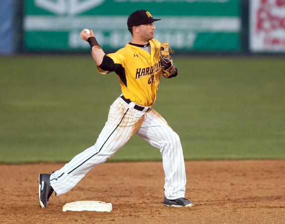 08/28/18 Wesley Bunnell | Staff The New Britain Bees vs the York Revolution on Tuesday night at new Britain Stadium. Second baseman Joe Poletsky (23) throws to first to complete a double play.
