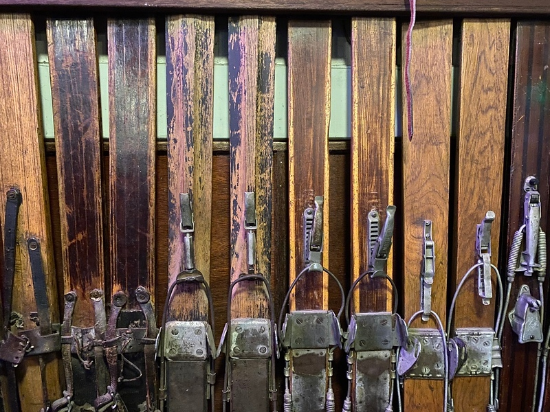 old downhill skis
