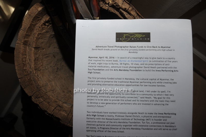 Caption Info for ...........David Heath Adventure Photographer Raises Funds to Give  Back  to Myanmar during book signing at Urban Zen boutique in Sag Harbor. July 23, 2016.