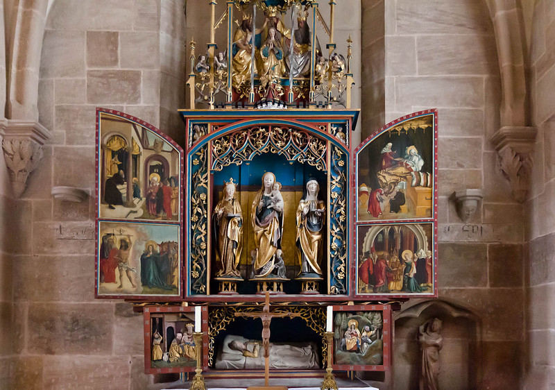 "Heilsbronn, Münster: Marienaltar mit ""Heilsbronner Rechtfertigungsbild"" r.u. (1511)"