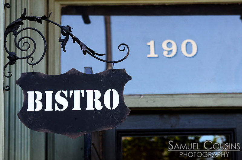 """""""Bistro"""" sign outside of Petite Jacqueline"""