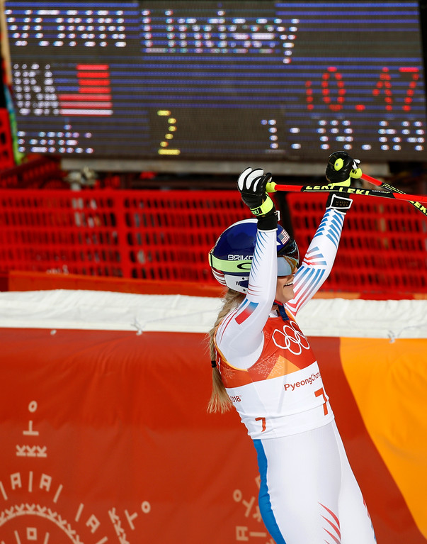 . United States\' Lindsey Vonn reacts after competing in the women\'s downhill at the 2018 Winter Olympics in Jeongseon, South Korea, Wednesday, Feb. 21, 2018. (AP Photo/Christophe Ena)