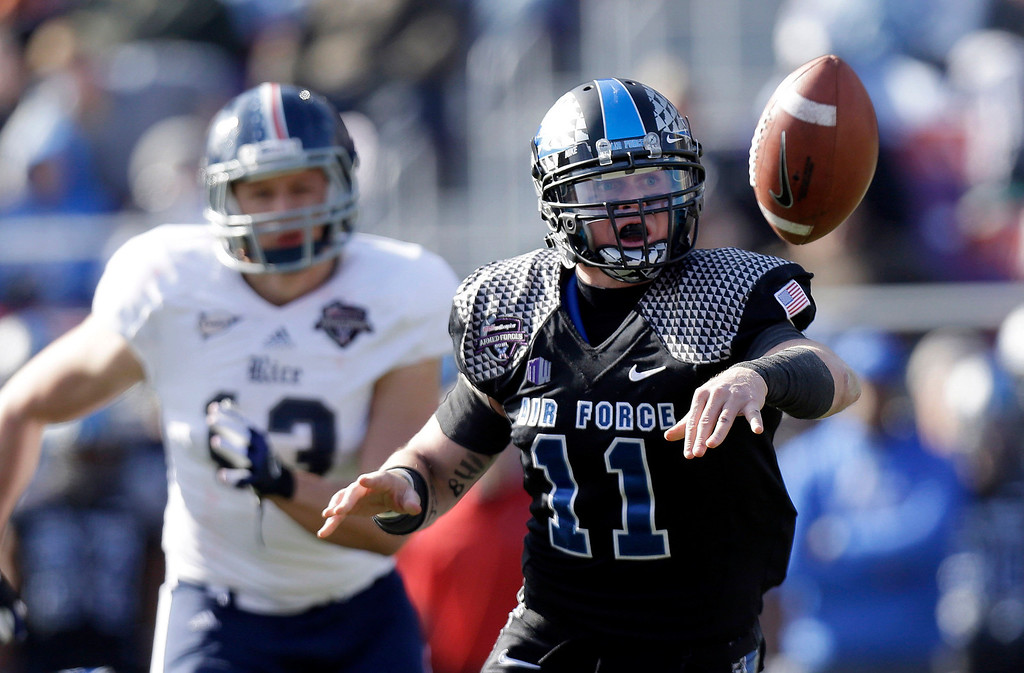 . Air Force quarterback Connor Dietz (11) pitches the ball as Rice defensive end Tanner Leland (13) chases during the first half of the Armed Forces Bowl NCAA college football game, Saturday, Dec. 29, 2012, in Fort Worth, Texas. (AP Photo/LM Otero)