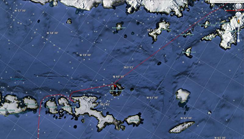 : GPS track on Akademik Sergey Vavilov, below the Antarctic Circle Trip, Jan 2013