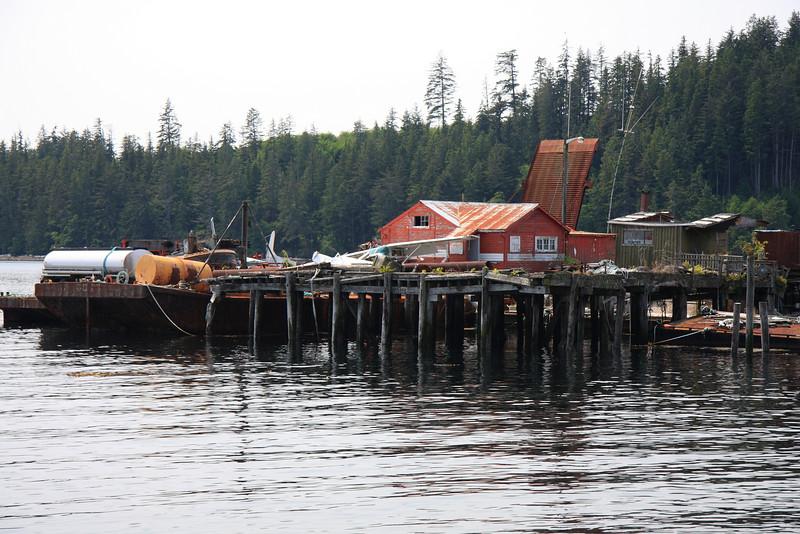 Inexplicable pier of junk at Alert Bay.
