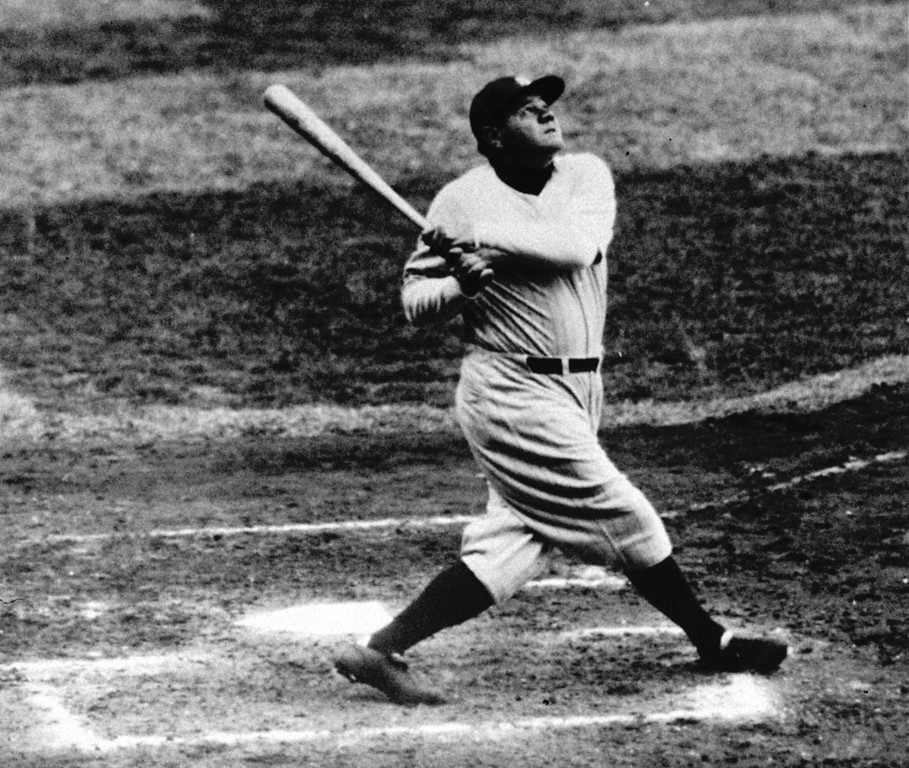 . In this undated photo, Babe Ruth of the New York Yankees hits a home run. Researchers at Washington University say that\'s no coincidence - the baseball diamond, they say, was built for the southpaw.  (AP Photo/File)