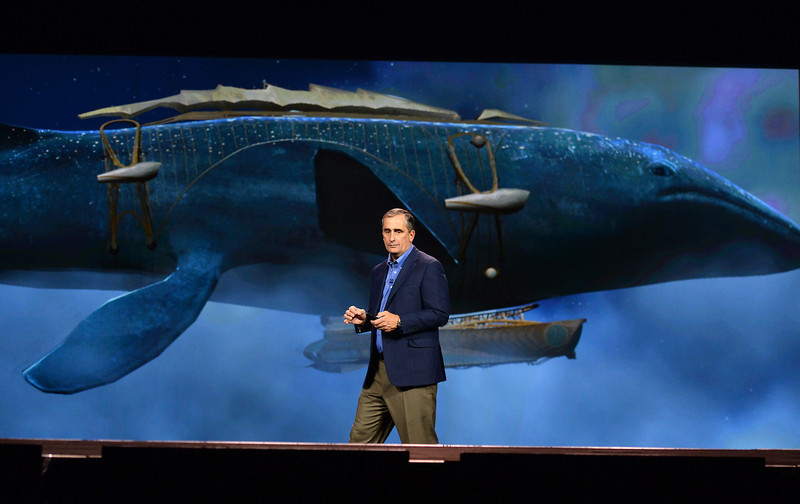 ". Intel Corp. CEO Brian Krzanich delivers a keynote address in front of an image of the whale airship from the book ""Leviathan\"" by Scott Westerfeld at the 2014 International CES at The Venetian Las Vegas on January 6, 2014 in Las Vegas, Nevada. CES, the world\'s largest annual consumer technology trade show, runs from January 7-10 and is expected to feature 3,200 exhibitors showing off their latest products and services to about 150,000 attendees.  (Photo by Ethan Miller/Getty Images)"