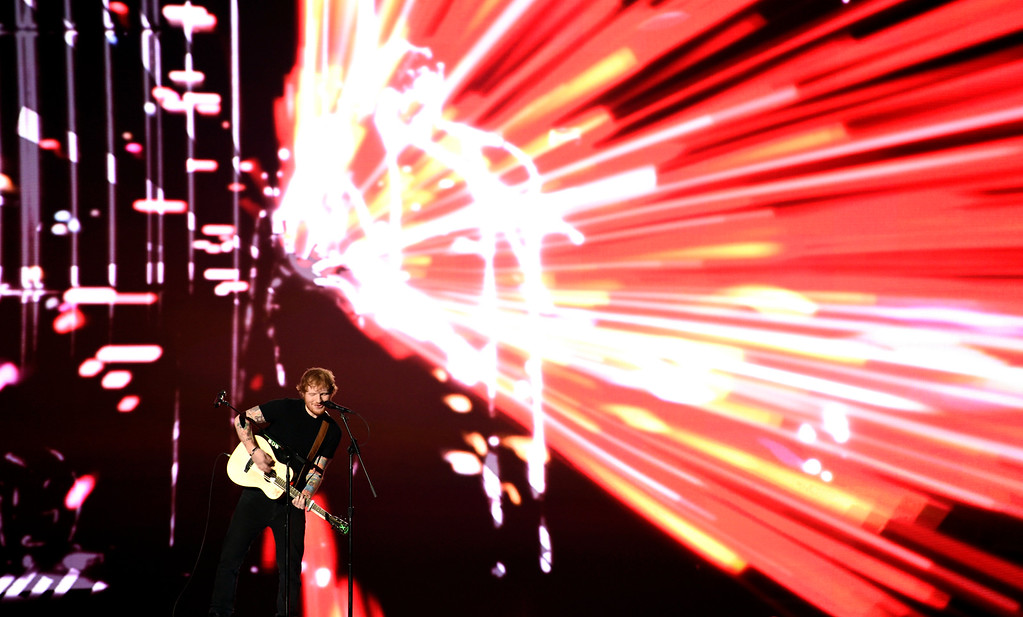 . Ed Sheeran performs at the Billboard Music Awards at the MGM Grand Garden Arena on Sunday, May 17, 2015, in Las Vegas. (Photo by Chris Pizzello/Invision/AP)
