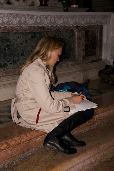 Marin working on her painting in the church of San Giorgio Maggiore