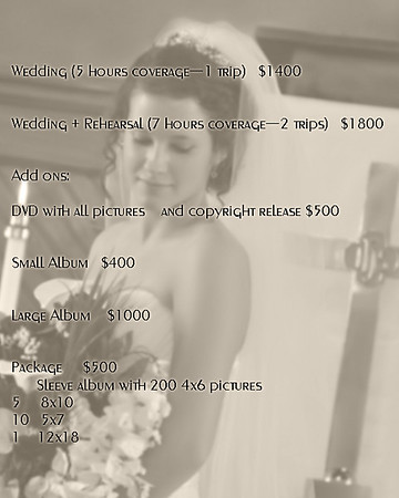 Wedding pricing for S.C.