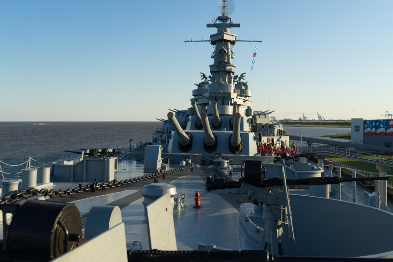 The horizon's even, but the USS Alabama's listing 3 degrees to port following hurricane Katrina.