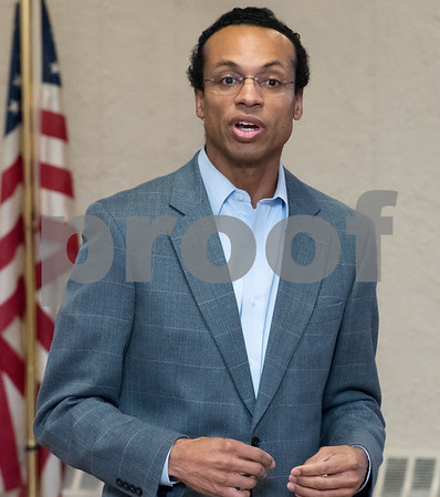 03/15/18 Wesley Bunnell | Staff Candidate for Treasurer Shawn Wooden speaks at the Pulaski Club on Thursday evening as he along with other Democratic candidates for state office met with the Democratic Town Committee as well as New Britain residents.