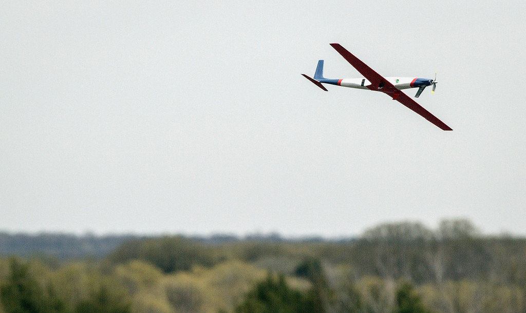 . In this April 2013 photo provided by Oklahoma State University, Team Black\'s airplane takes off during SpeedFest III, in Stillwater, Okla. Researchers at Oklahoma State University are designing and building sleek, Kevlar-reinforced unmanned aircraft _commonly known as drones_ to fly into the nation\'s worst storms and send back real-time data to first responders and forecasters about how fierce they might become. (AP Photo/ Oklahoma State University, Gary Lawson)