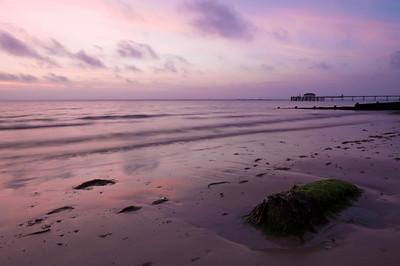 Beach at sunset, Totland Bay, Isle of Wight, United Kingdom