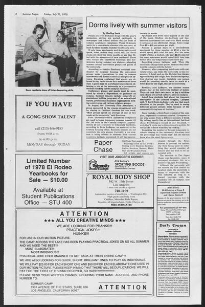 Summer Trojan, Vol. 74, No. 11, July 21, 1978