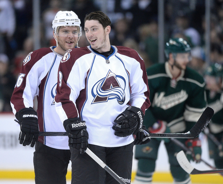 . Paul Stastny joked with Matt Duchene before the game Monday night.  (Photo by Karl Gehring/The Denver Post)