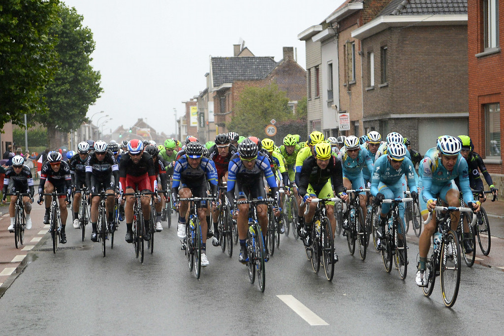 . The pack rides during the 155 km fifth stage of the 101st edition of the Tour de France cycling race on July 9, 2014 between Ypres, northwestern Belgium, and Arenberg Porte du Hainaut in Wallers northern France.  AFP PHOTO / ERIC FEFERBERG/AFP/Getty Images