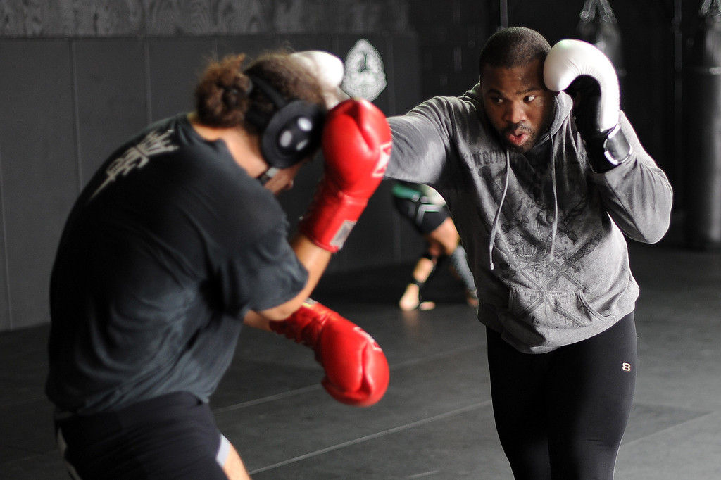 . Fighters train at Black House in Gardena Monday, August 5, 2013. (Hans Gutknecht/Los Angeles Daily News)